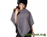 Buttoned Cape - Grey